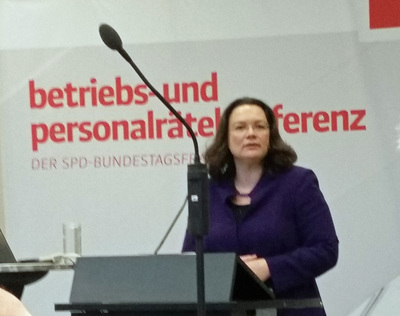 Bundesarbeitsministerin Andrea Nahles. Foto: GdP