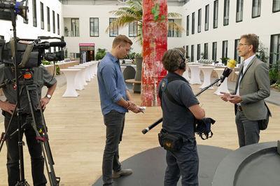 GdP-Chef Oliver Malchow mit einem O-Ton am Rande einer GdP-Veranstaltung in Berlin. Foto: Zielasko