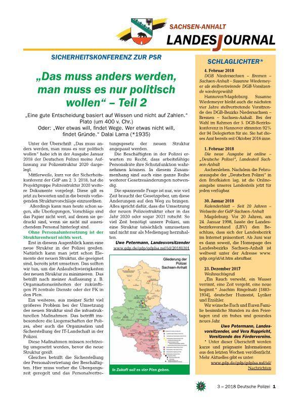 In Der Ausgabe Des Landesteils Der Deutschen Polizei März 2018 Sind