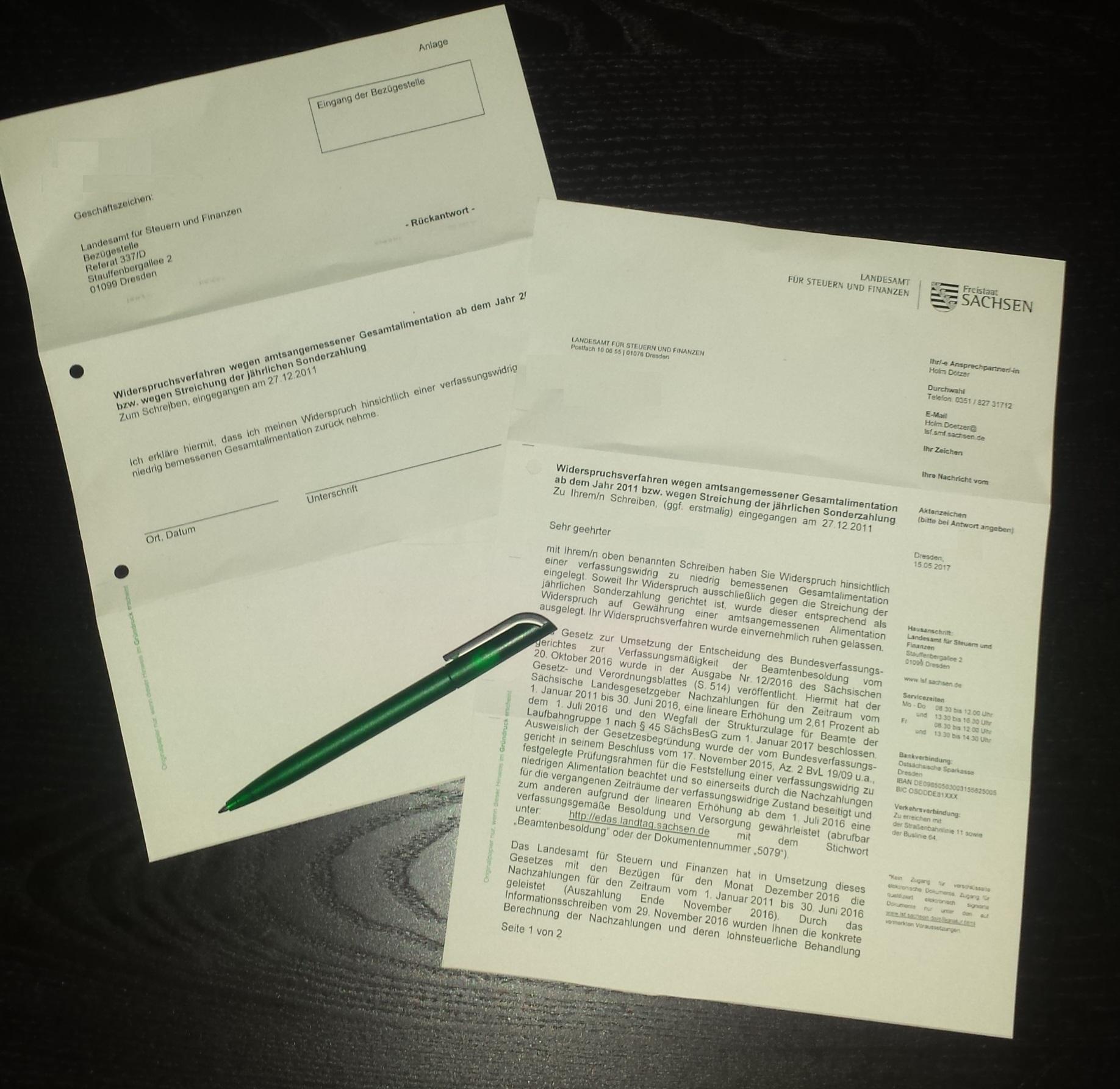 Widerspruchsverfahren Wegen Amtsangemessener Gesamtalimentation Ab